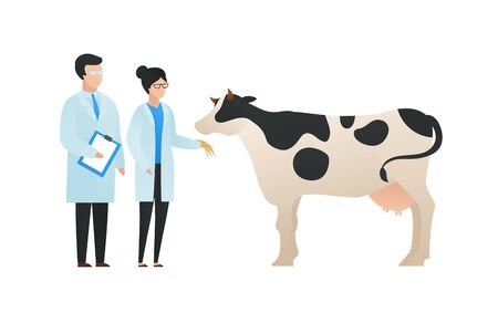 Trendy flat scientist character vector illustration. Set of cartoon male and female science team standing in front of cow. Concept of biology and gene modification, crispr. Design element. Illusztráció