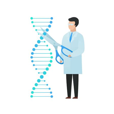 Trendy flat scientist character vector illustration. Cartoon male cutting dna molecula with scissors isolated on white. Concept of biology and gene modification, crisprcas9. Design element.
