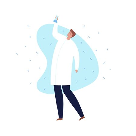 Vector modern scientist character illustration. Flat male in white coat holding flask with blue liquid on blue fluid shape isolated on white background. Concept of discovery, ideas. Design element.