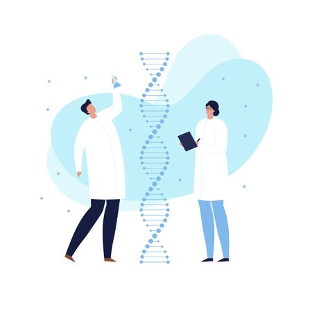 Vector modern scientist character illustration. Group of flat male and female in white coat on dna spiral and blue shape isolated on white background. Concept of bio technology, genetic, gene study. Illusztráció