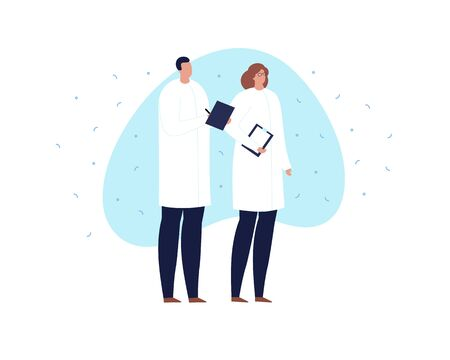 Vector modern scientist character illustration. Group of male and female in white coat uniform holding notepad on blue shape isolated on white background Design element for web, report, presentation