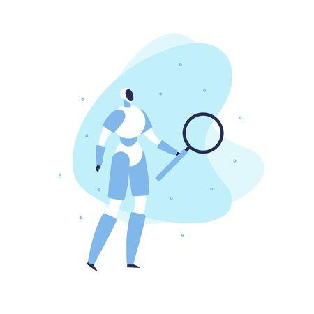 Plantilla de banner de robot plano moderno de vector. Android azul con lupa sobre fondo de formas fluidas aislado en blanco. Elemento de diseño para ciencia, robótica, ingeniería, póster de inteligencia artificial.