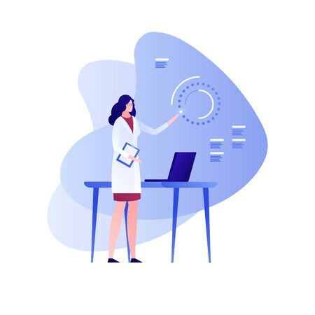 Vector flat science character illustration. Female scientist working with interface and laptop. Concept of big data, tech study, engineering, innovation. Design element for banner, poster, web, flyer