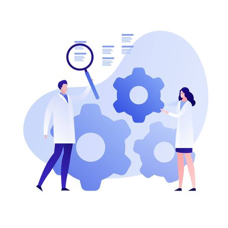 Vector flat science character illustration. Scientist team with magnifier and wheels. Concept of big data, cloud, tech study, engineering, innovation. Design element for banner, poster, web, flyer