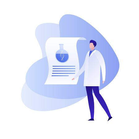 Vector flat genetic science illustration. Male character in coat uniform with paper with tube with dna. Concept of gene study, engineering, innovation. Design element for banner, poster, website Illusztráció