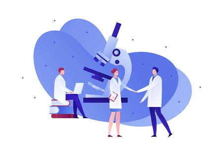Vector flat medical science character illustration. Scientist team with microscope and laptop. Concept of chemistry, physics, engineering, innovation. Design element for banner, poster, web, flyer Illusztráció