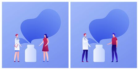 Vector flat doctor patient conversation illustration banner template. Set of female and male talking with medic with bottle background. Concept of pharma, prescriptions. Design element for poster, web