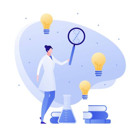 Vector flat medical science character illustration. Woman scientist with lab tube, magnifier, and books. Concept of idea, success, discovery, genetic, innovation. Design for banner, poster, web, flyer Illusztráció