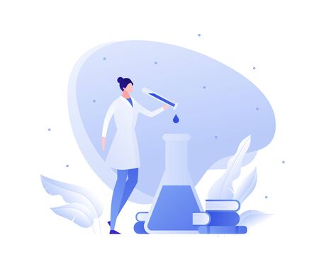 Vector flat medical science character illustration. Woman scientist with lab tube and books. Concept of chemistry, physics, bio engineering, innovation. Design for banner, poster, web, flyer