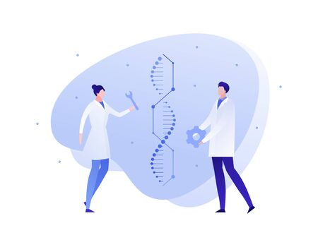 Vector flat genetic science people illustration. Scientist team work with engineered gene spiral . Concept of dna, rna, editing, biology innovation. Design element for banner, poster, website