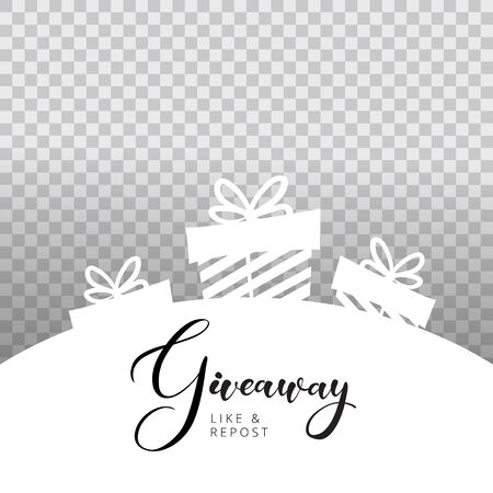 Giveaway lettering text on banner banner card. Calligraphy word