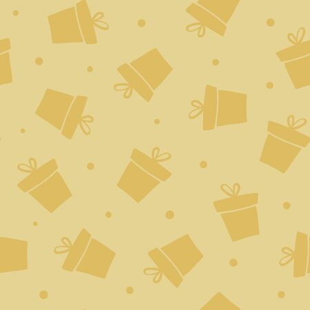 Giveaway holidays repeated pattern, present boxes illustration. Gold seamless gift pattern. Abstract wallpaper, wrapping paper print