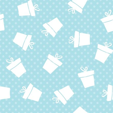 Blue seamless gift pattern. Giveaway holidays repeated pattern, present boxes illustration. Abstract wallpaper, wrapping paper print