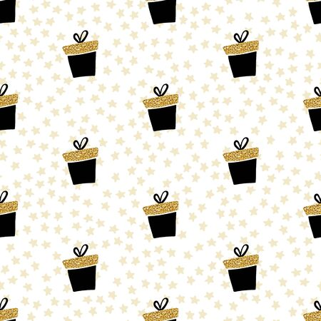 Vector white gold seamless gift pattern. Giveaway holidays repeated pattern, present black boxes illustration. Abstract wallpaper, wrapping paper print