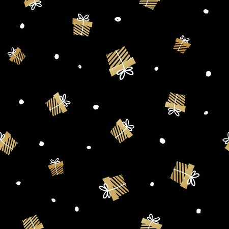 Black and gold seamless gift pattern. Giveaway holidays repeated pattern, present boxes illustration. Print for fabric, textile, wrapping paper