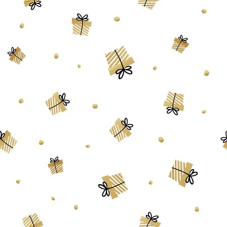 White and gold seamless gift pattern. Giveaway holidays repeated pattern, present boxes illustration. Abstract wallpaper, wrapping paper print Vectores