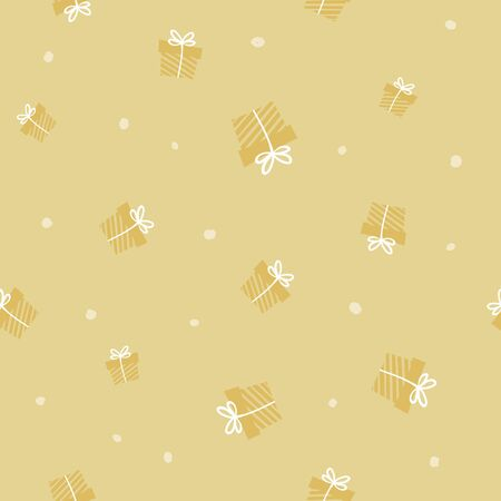 Gold repeated present pattern. Giveaway holidays seamless pattern, gift boxes illustration. Print for fabric, textile, wrapping paper