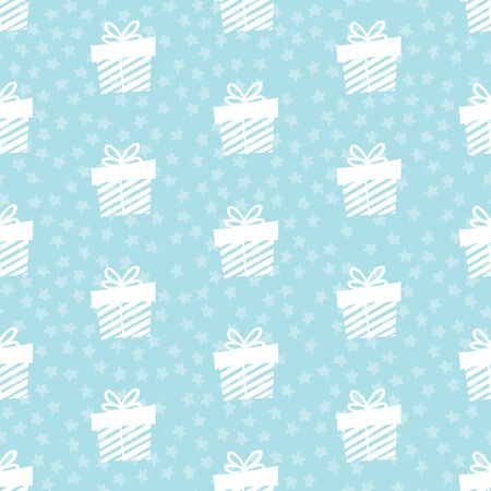 Giveaway holidays repeated pattern, present boxes illustration. Blue seamless gift pattern. Abstract wallpaper, wrapping paper print