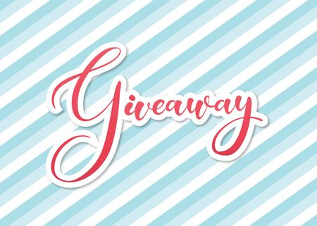 """Giveaway lettering text on banner with oblique blue lines. Red letters with a white outline of calligraphy text """"giveaway"""". Retro style banner design for advertising"""