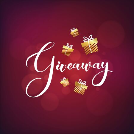 """Golden gift boxes with text """"giveaway"""" on red bubble background. Banner design for different holidays. Hand-drawn giveaway lettering text for smm accounts, blogs, banners. Vector Illustration"""