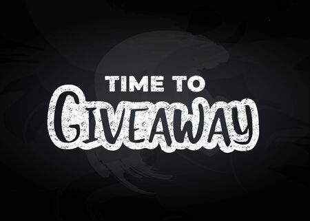 Hand-drawn black giveaway text with white outline on black background for social media accounts blogs, banners. Black and white design. Advertising logo of giving present for like or repost.