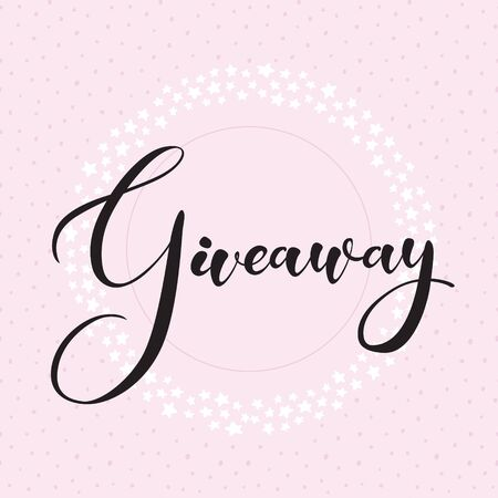 """Giveaway banner for smm (social media marketing) competitions. Vector black handdrawn text """"giveaway"""" in round frame of small white stars isolated on pink. Decoration illustration for promotion."""
