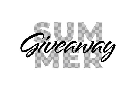 Vector summer colorful giveaway illustration for promotion in social network with lettering font, transparent word. Advertising of giving present fo like or repost. Decoration banner for business.