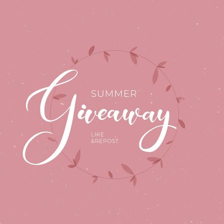 Lettering giveaway vector illustration for like or repost advertising in social network. Banner of giving present for business. Elegant red leaf isolated on pink background with calligraphy text.