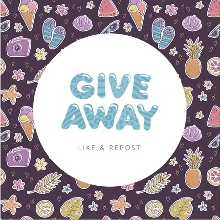 Giveaway summer vector frame template. Illustration with handdrawn traveling set of icons on dark background. Banner of giving present for like or repost advertising in social network for business.