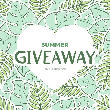 Nature giveaway vector illustration for like or repost advertising in social network. Heart shaped frame on banner of giving present for business. Green fern and tree leaf with text.