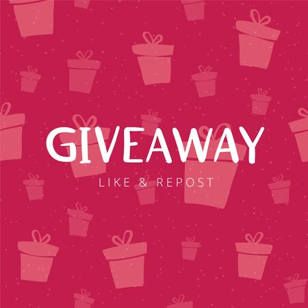 Giveaway banner design for social media marketing. Template for promotion of social network account by giving a gift. Hand drawn lettering illustration with phrase GIVEAWAY.