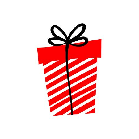 Giveaway vector illustration with gift int the box. Advertizing of giving present. Icon for gifts, presents, holidays, giveaway. Box with red and white stripes and black ribbon and bow. Ilustração