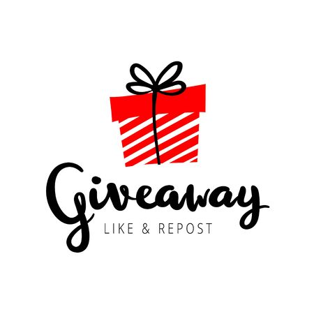 """Giveaway vector illustration for promotion in social network. Advertizing of giving present fo like or repost. Decoration banner for business account. Text """"Giveaway"""" written by lettering font."""