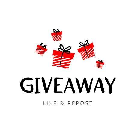 Giveaway vector illustration for promotion in social network. Advertizing of giving present fo like or repost. Decoration banner for business account. Text