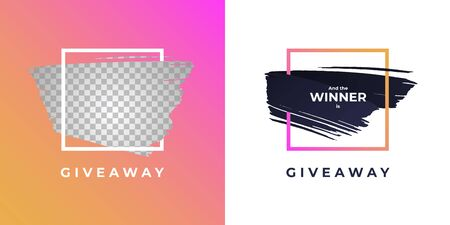 Vector trendy gradient brush giveaway banner. Set of message and winner illustration hand drawn strokes in square frame. Design element for modern style promotion adveritising post in social network Vectores