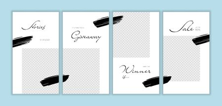 Vector giveaway story trendy templateset. Black and white frames with hand drawn brush strokes and place for photo. Design for social media post, ad, announcement of winner, voucher. Stock fotó - 133562572