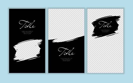 Vector giveaway story trendy templateset. Black and white frames with hand drawn brush strokes and place for photo. Design for social media post, ad, announcement of winner, voucher.