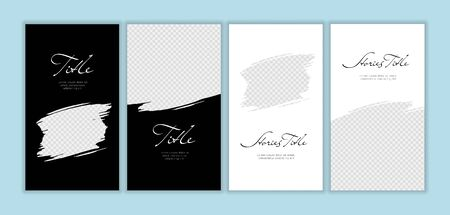Vector giveaway story trendy templateset. Black and white frames with hand drawn brush strokes, place for photo and title text. Design for social media post, ad, announcement of winner, voucher.