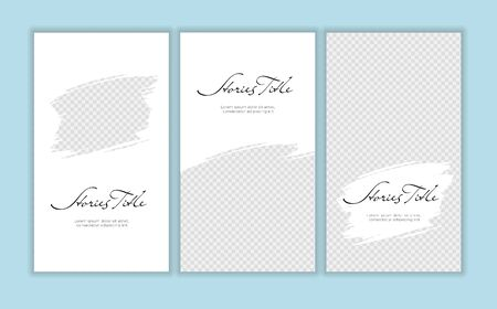 Vector giveaway story trendy templateset. Black and white frames with hand drawn brush strokes place for photo and title text. Design element for social media network post, ad, announcement of contest