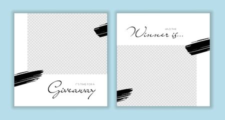 Vector giveaway story trendy templateset. Black and white frames with hand drawn brush strokes place for photo and title text. Design element for social media network post, ad, announcement of winner Illusztráció