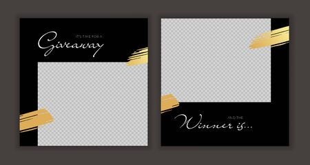 Vector giveaway story trendy templateset. Black and white frames with gold brush strokes place for photo and title text. Design element for social media network post, ad, announcement of winner Illusztráció