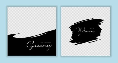 Vector giveaway story trendy templateset. Black and white frames with brush strokes transparent frame and title text. Design element for social media network post, ad, announcement of winner Illusztráció
