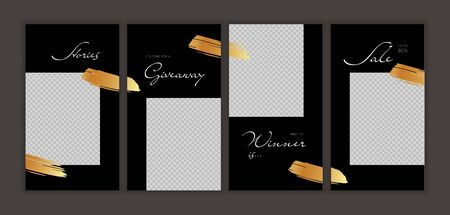 Vector giveaway story trendy templateset. Black and white frames with gold brushstrokes transparent frame and title text. Design element for social media network post, ad, announcement of winner