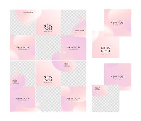 Vector social media post grid background set. Pink abstract shape backdrop. Romantic mood, love, holiday flowers concept. Design for social media post, ad, announcement of winner, voucher. Illusztráció
