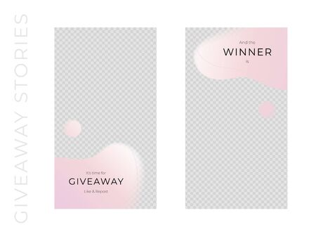 Vector abstract giveaways post template set. Pink color romantic style fluid shapes. Giveaway and winner frame. Design for social media blog advertising, promotion, announcement, freebies, message.