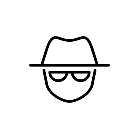 Vector outline anonymous icon. An incognito face in hat and glasses isolated on white background. Concept of anonymity, agent detective, theft, fraud protection, hacker activity.