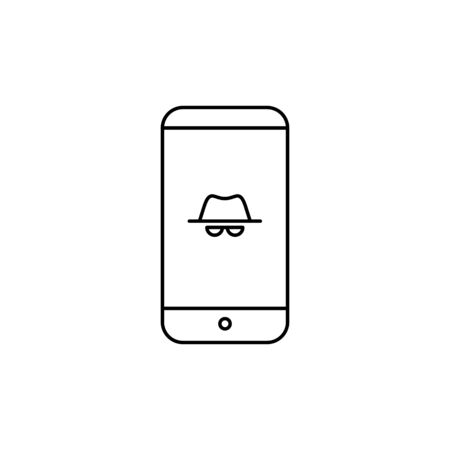 Vector outline anonymous icon. An incognito face in hat and glasses on smartphone screen isolated on white background. Concept of web vpn service, cyber security and theft, fraud protection, hacker. Çizim
