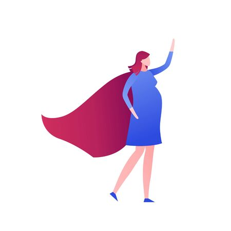 Vector modern flat mother super hero illustration. Pregnant female in blue dress and red cape in strong pose isolated on white. Design element for greeting card, card, medical ad, infographics, banner Ilustracja