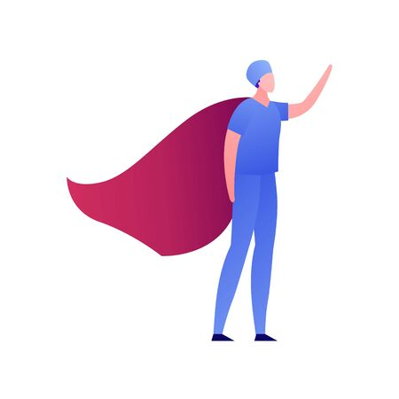 Vector modern flat superhero person illustration. Male surgeon doctor in blue uniform with red cloak standing isolated on white background. Design element for medical banner, healthcare poster, clinic