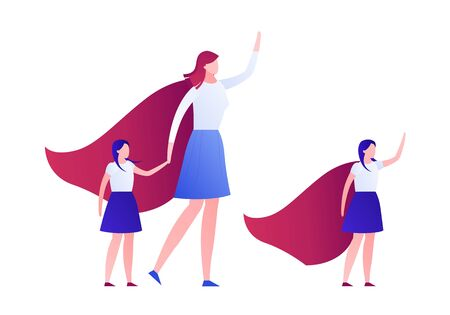 Vector modern flat family super hero illustration. Female holding daughter and girl in red cape in strong pose isolated on white. Design element for greeting card, card, ad, infographics, banner.